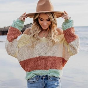 Vici sweet spring cotton cropped stripe sweater